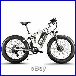 1000W Fat Tire eBike Hydraulic Brakes Electricity Mountain Bike XF800 White