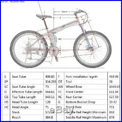 26 Full Suspension Folding Mountain Bike Shimano 21 Speed Bicycle MTB Present