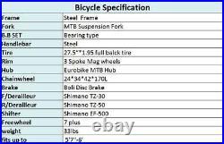 27.5 Full Suspension Mountain Bike Shimano 21 Speed Disc Brakes Bicycle MTB