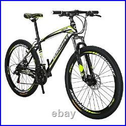 27.5 Mountain Bike Shimano 21 Speed Front Suspension Bicycle Mens Bikes Yellow