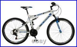 Boss Astro Mens Full Suspension Mountain Bike 18 Speed 26 Wheel 2019 Wht/Bk/Blu