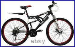Boss Dominator Mens Full Suspension Mountain Bike 26 Wheel 18 Speed Black