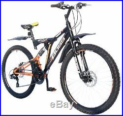 Boss Shock 26 Inch Dual Suspension Men's Mountain Bike Orange & Black