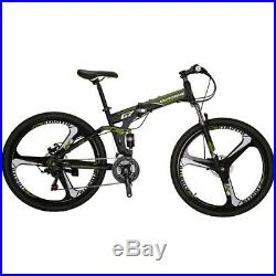 Folding Mountain Bike 21 Speed Foldable frame Full Suspension Mens Bicycle 27.5