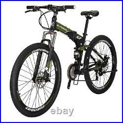 Folding Mountain Bike 21 Speed Mens Bicycle Full Suspension Disc Brakes 27.5