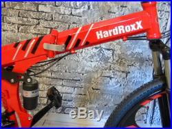 HardRoxX Folding Mountain Bike, Full Suspension Disc Brakes Men/Women 26 Wheel