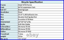 Mens Mountain Bike Shimano 21 Speed 27.5 Front Suspension Bicycle Disc Brakes