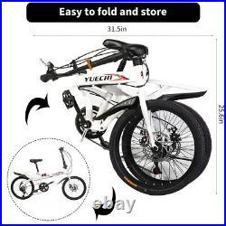 UK Folding/Full Suspension Mountain Bike 7 Speed Men's Bikes Bicycle MTB with Pump
